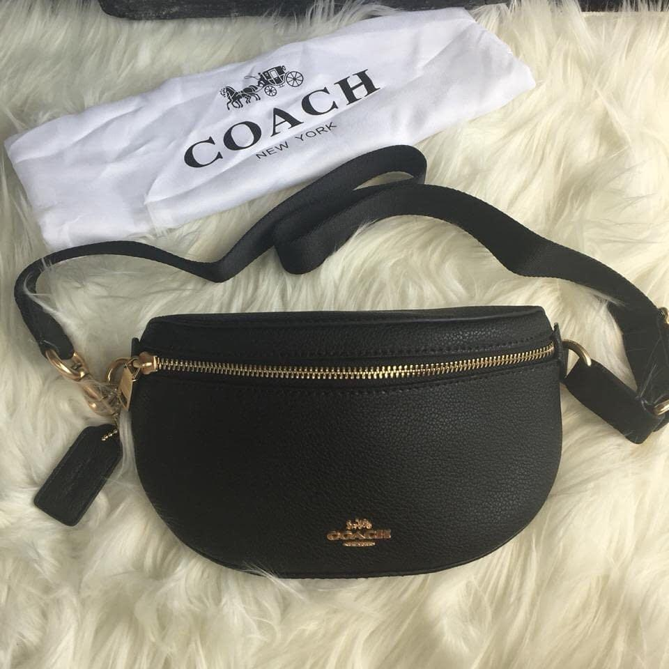 Coach Sling Bag belt New bahan leather full set ya warna full hitam