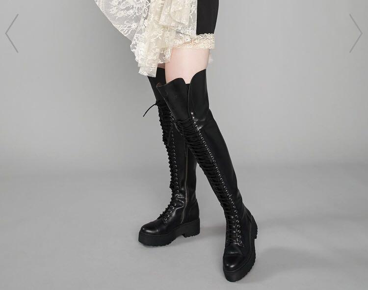 Dolls kill black thigh high boots