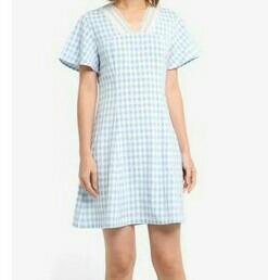 Dress Zalora biru Kolak kotak
