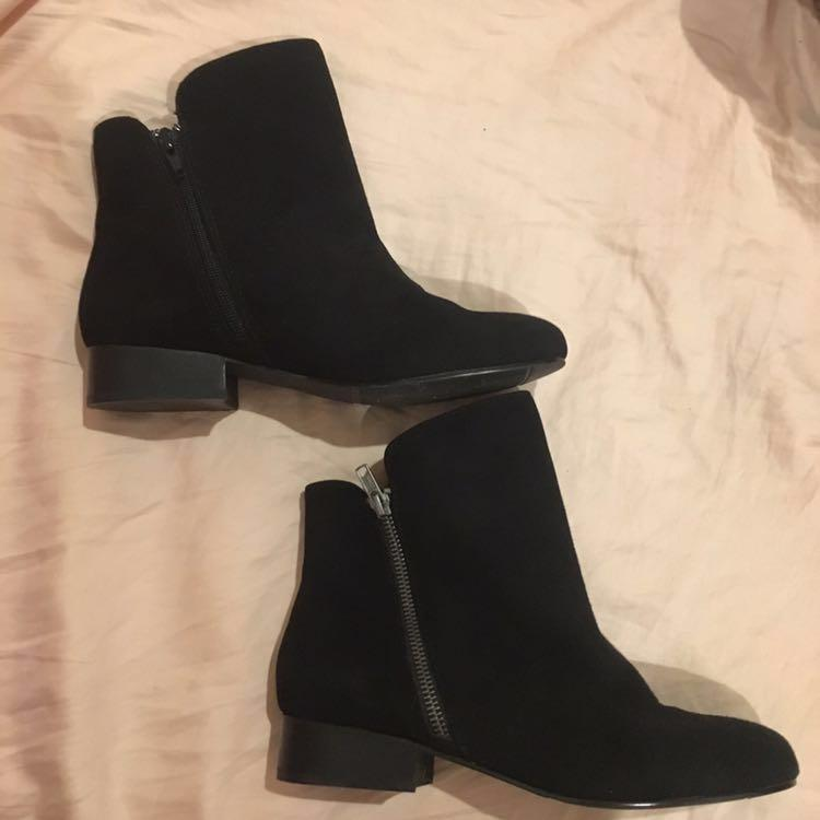 Easy Steps Black Genuine Suede Leather Ankle Boots