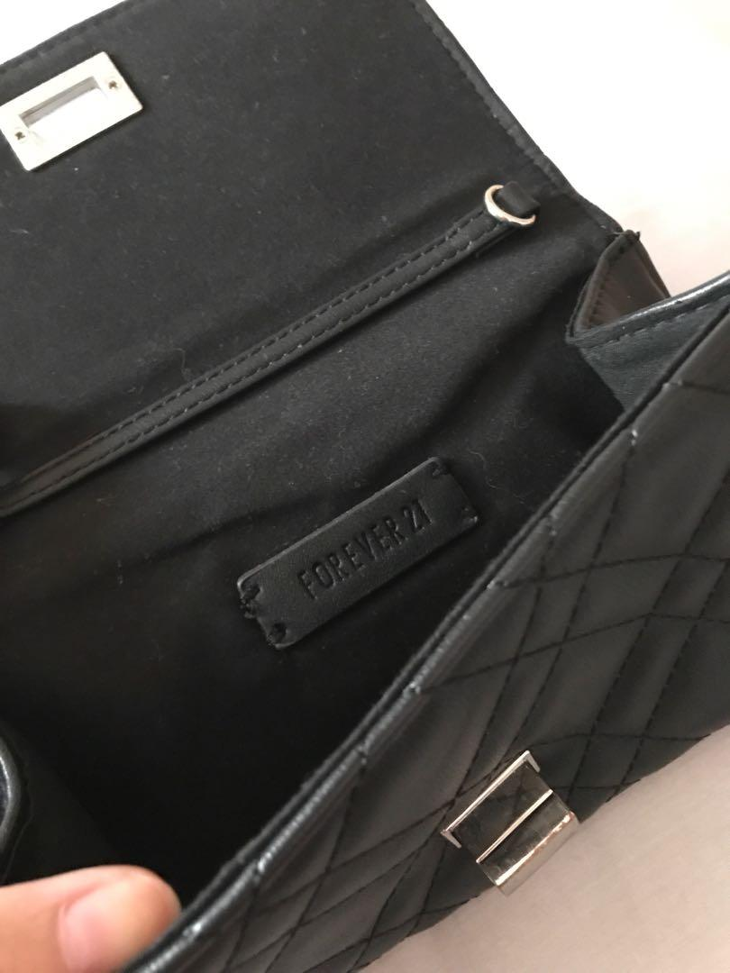 Forever 21 Simple Black Leather Clutch