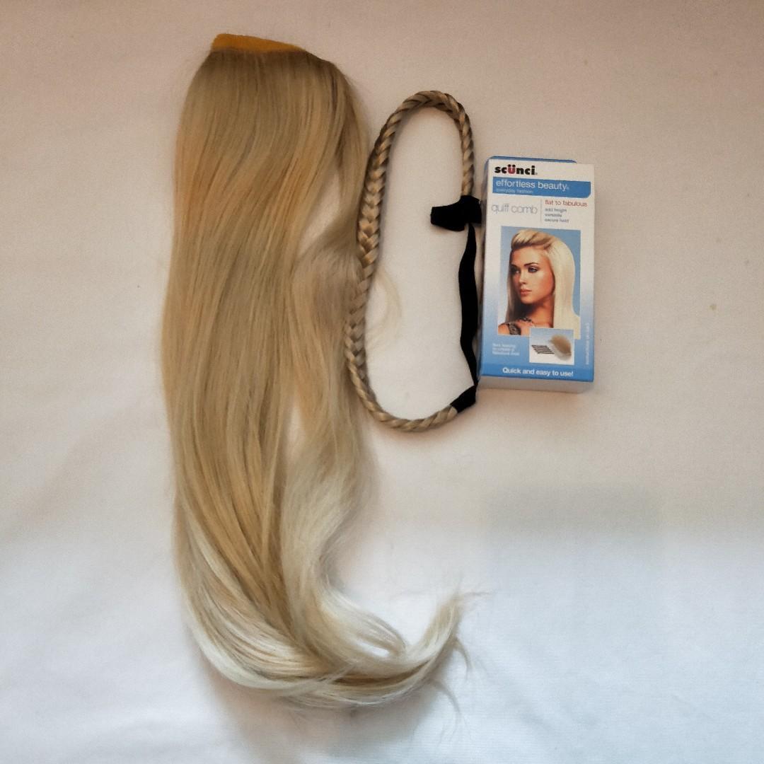 Light Blonde Hair Accessory Bundle - Ponytail Extension, Braid Headband, Quiff Comb
