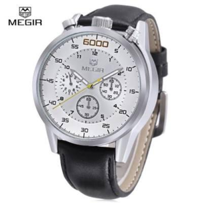 MEGIR 3005G 30M WATER RESISTANT MALE QUARTZ WATCH WITH STOPWATCH (BLACK LEATHER SILVER WHITE)