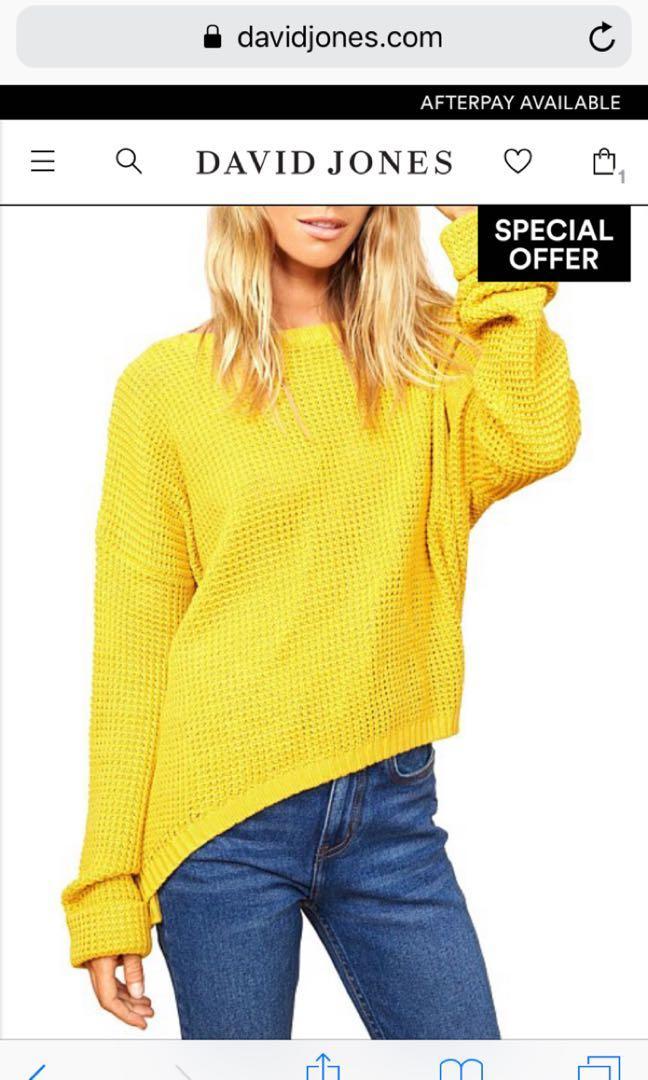 MinkPink oversized mustard crochet jumper