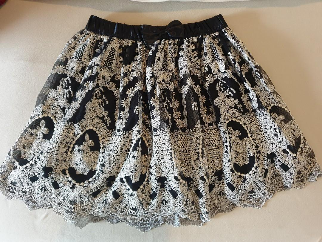 NaNa De Luxe Korea black lace skirt