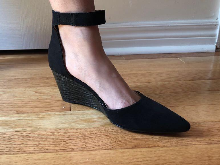 Next Forever Comfort black suede pointed wedge heels