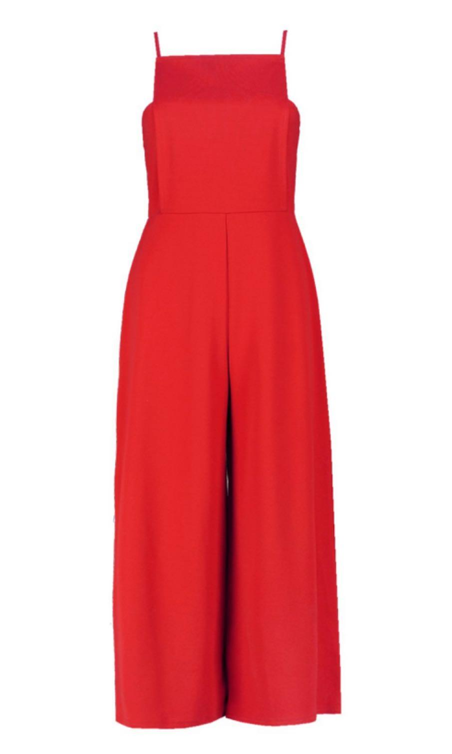 NWTO Boohoo Grace Square Neck Culottes Jumpsuit in Red