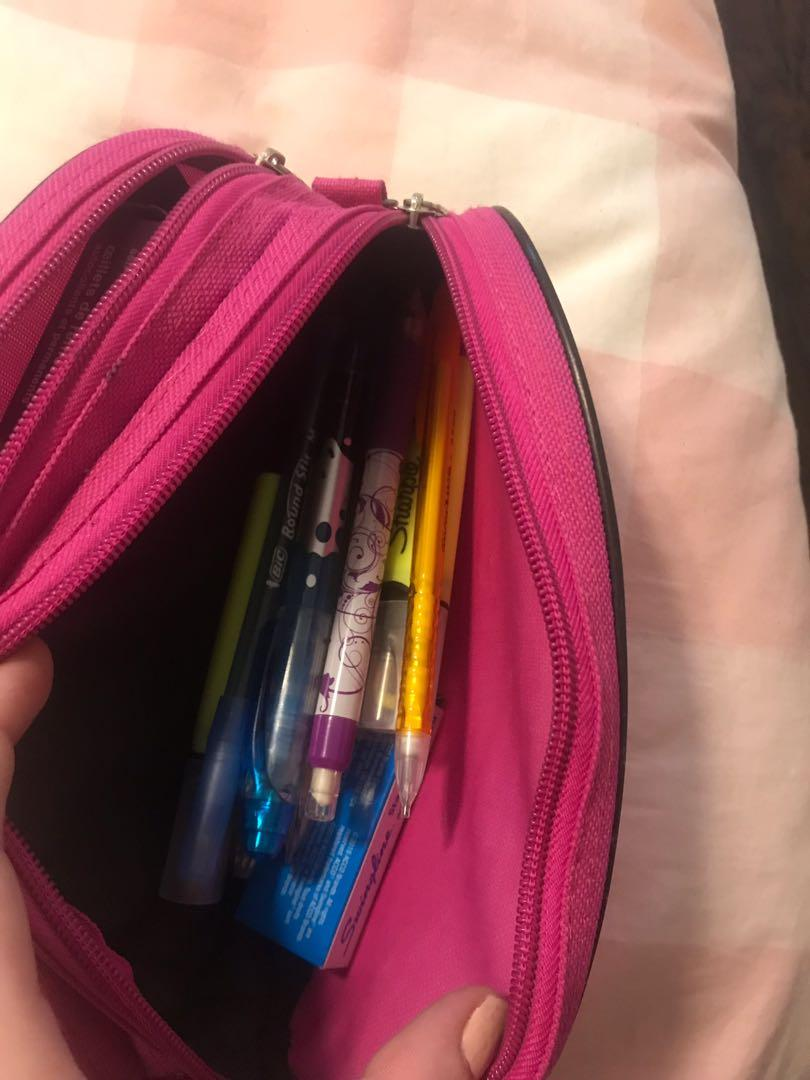 Pencil case with pens