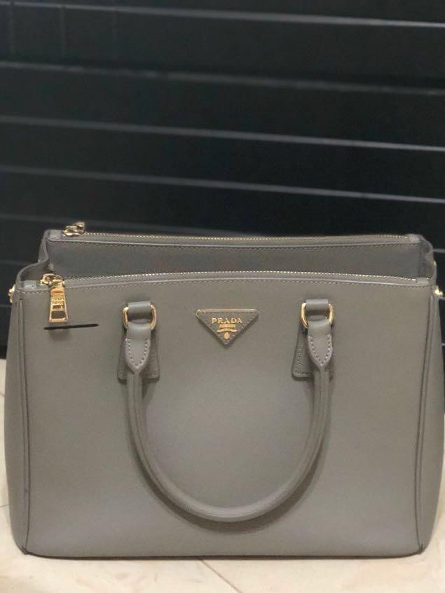 b8cff08eb70 Prada saffiano leather tote bag grey hand bag shoulder bag medium ...
