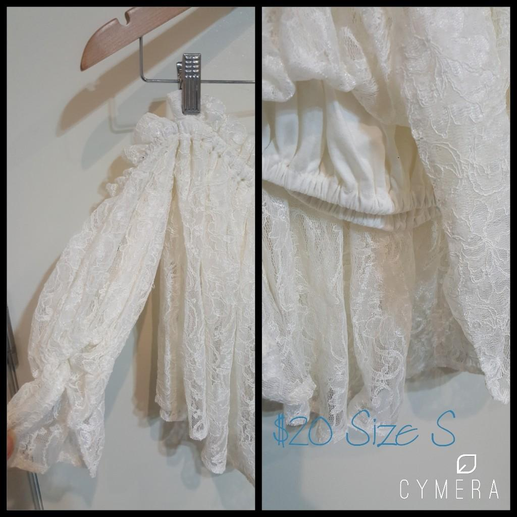 """""""See Room Lynn"""" Japanese Brand Beautiful Ivory Lace Off Shoulder Top (Size S)"""