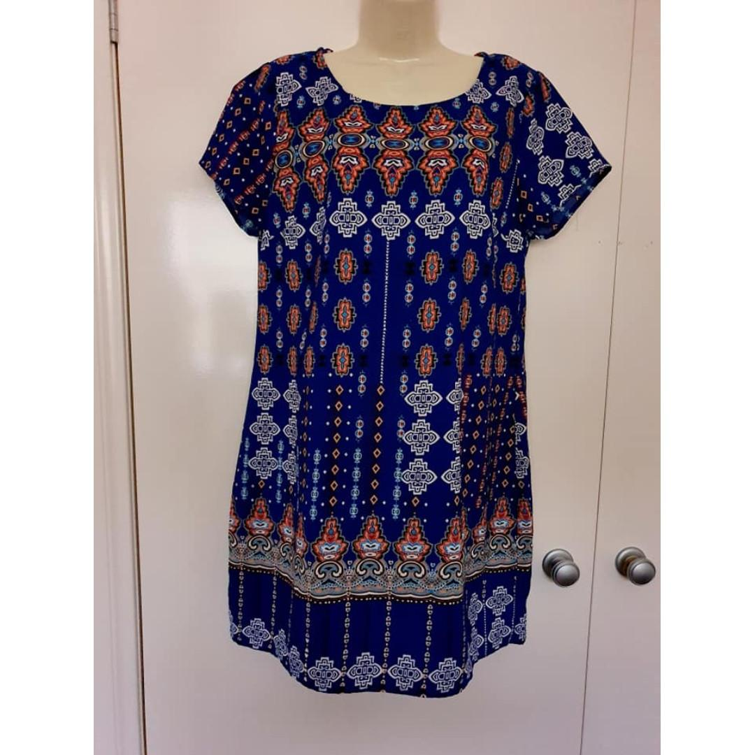 Size 14 more 12 Euc Dotti patterned short dress long tunic top lightweight