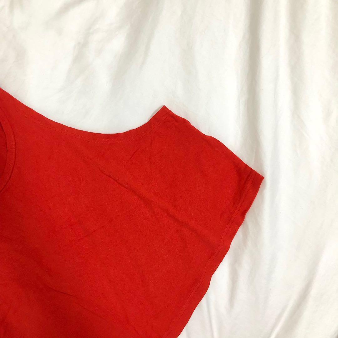 topshop red/orange halter crop top #springcleanandcarousell50
