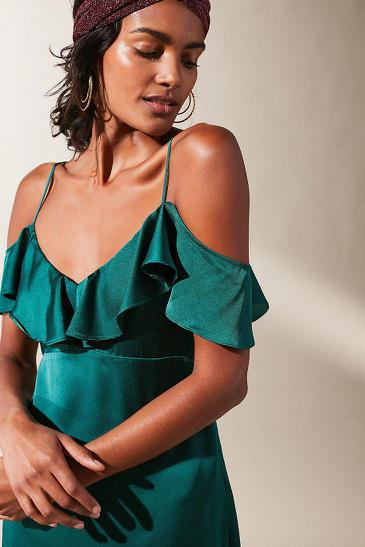Urban Outfitters Satin Ruffle Cold Shoulder Midi Dress
