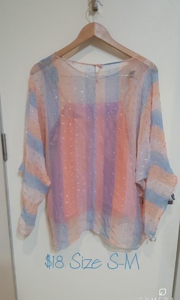 Vintage Sheer Two Layered Long Sleeve Top (Size S-M)