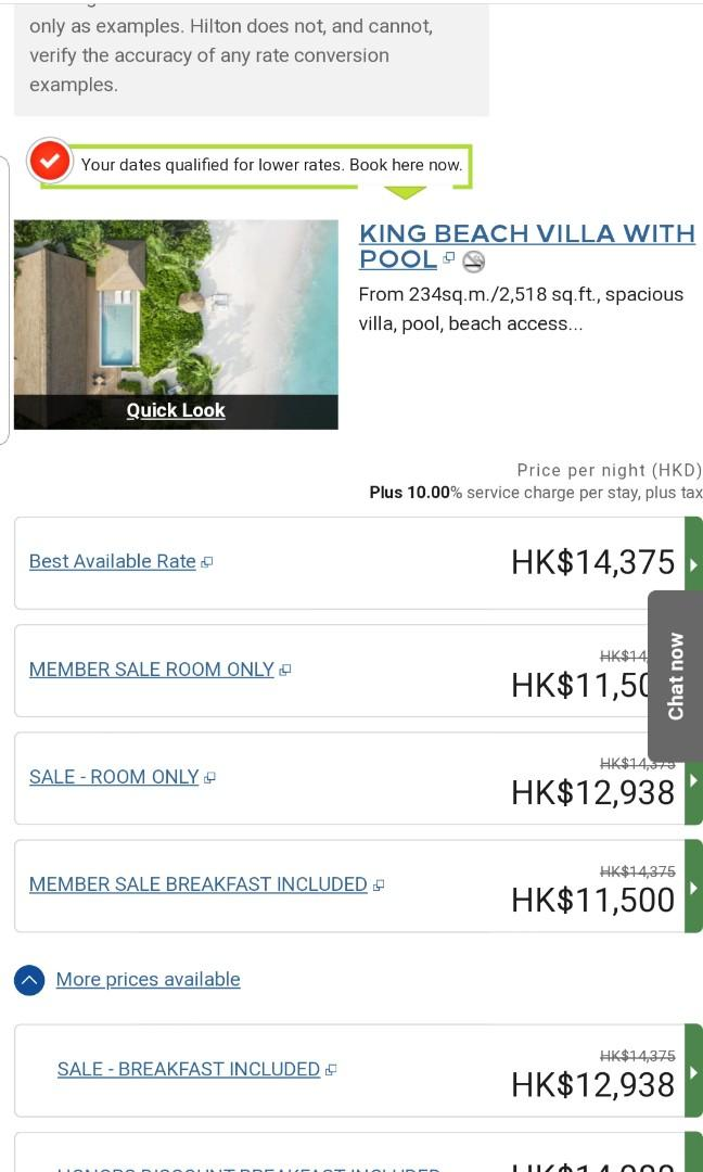 WALDORF ASTORIA IN THE MALDIVES  , HK$ 7000 / night. (半價)