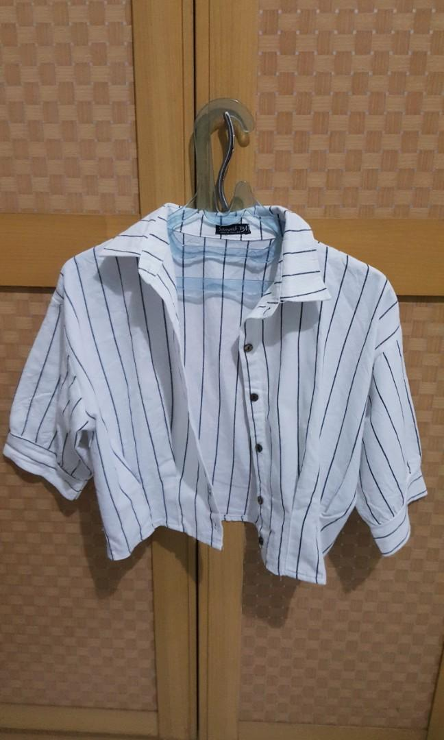 White Buttoned-Up Stripes Shirt