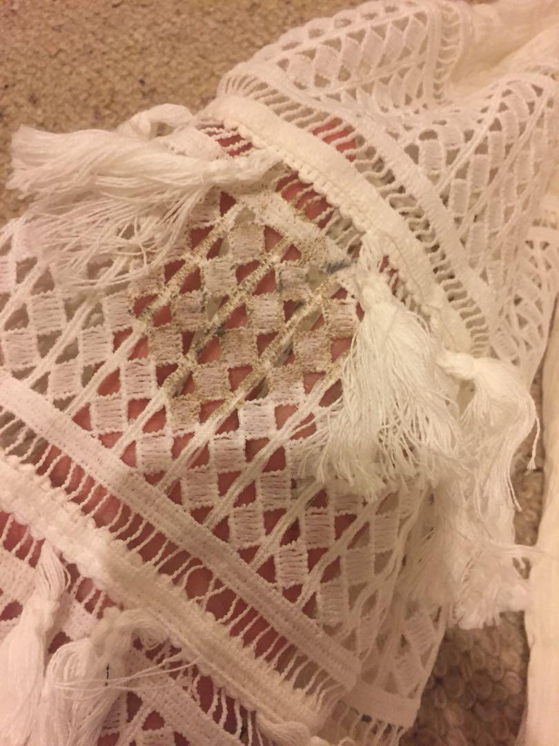 White off shoulder wide bell sleeve lace tassel flowy dress