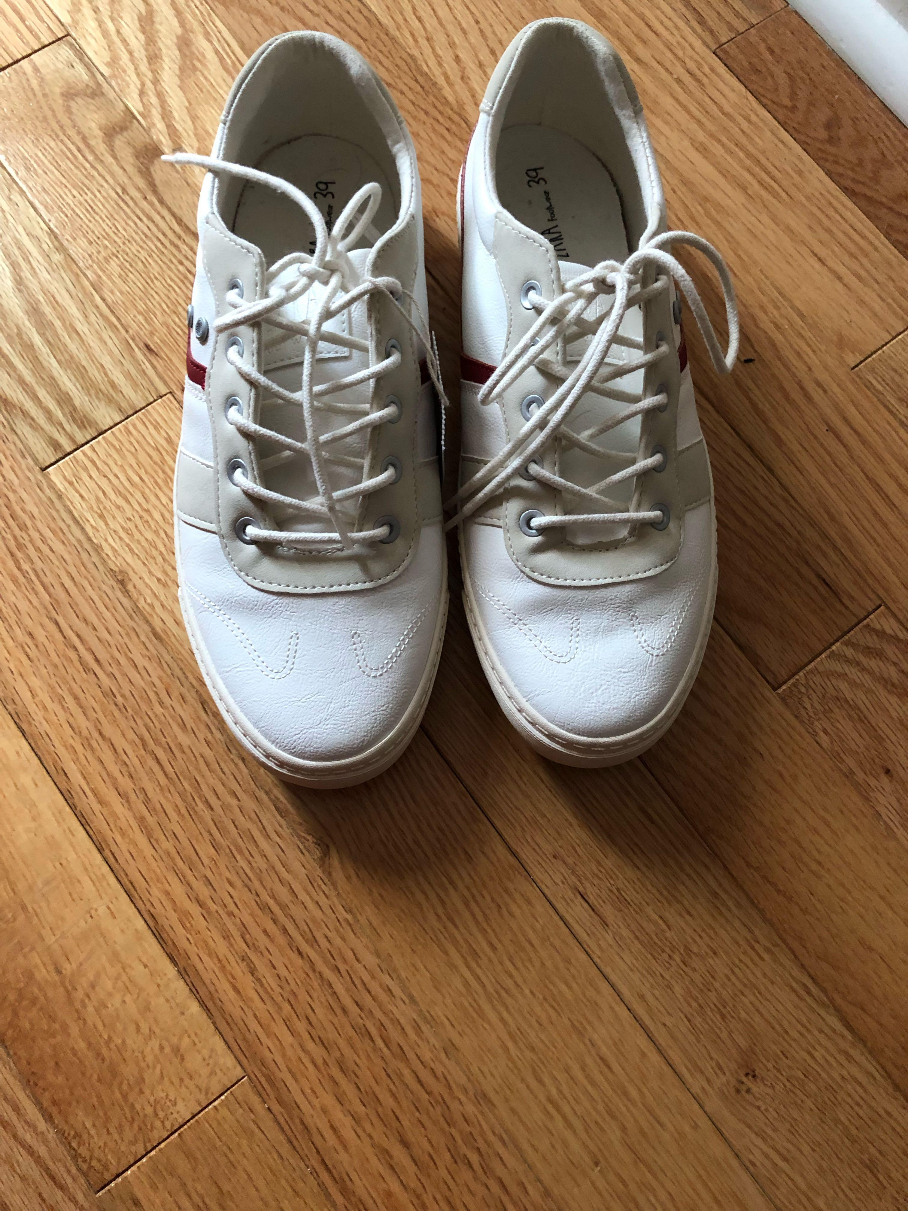 Zara sneakers with maroon and nude stripes