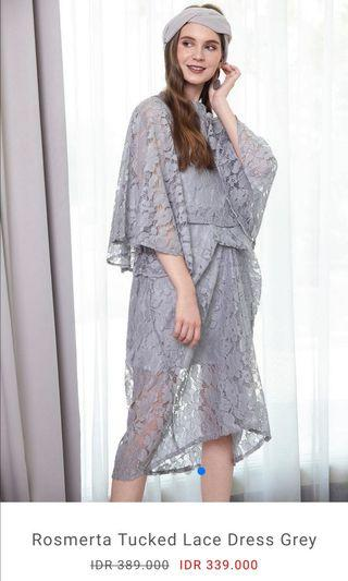 (Jual rugi) Rosmerta Tucked Lace Dress Grey