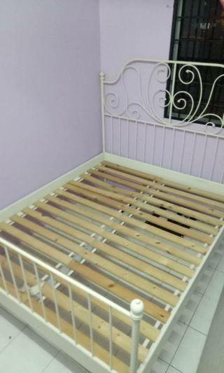 Katil Queen Bed Frame Ikea Leirvik