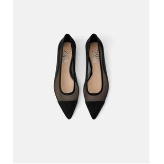 Zara mesh pointy low heel flats