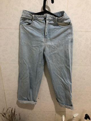 🚚 長牛仔褲 淺藍 二手 古著 直筒寬牛仔褲