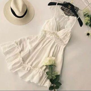 白色性感沙灘度假裙