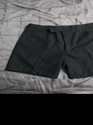 Short Pants Slack Cloth Black