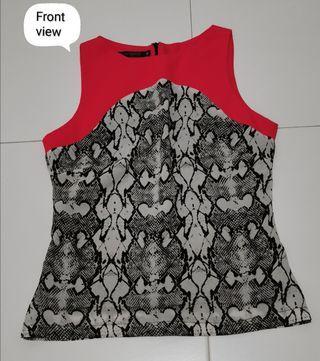 Sleeveless snake print colorblock top