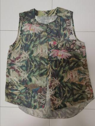 Sleeveless tropical floral top