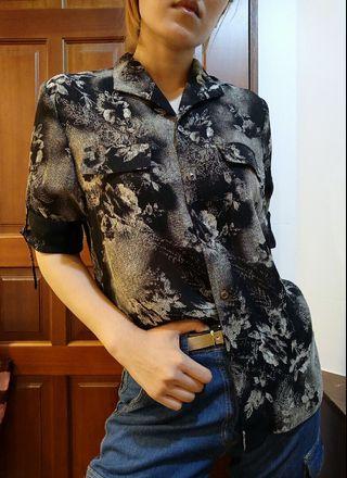 🚚 古著 復古黑白花紋透膚襯衫