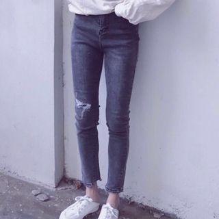 合身彈性拼布設計牛仔褲