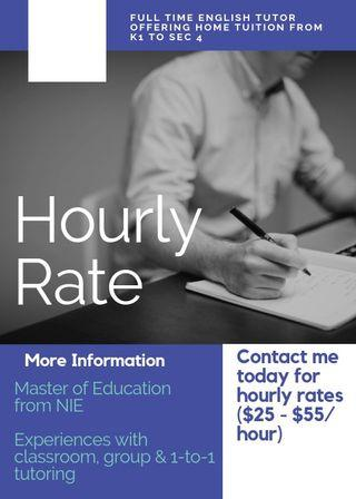 Full Time English Home Tuition (K1 to Sec 4)
