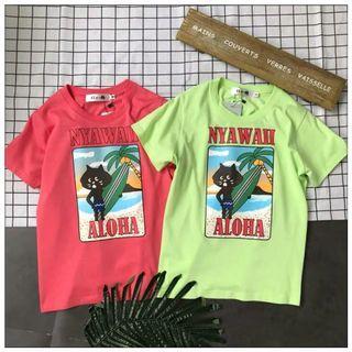 Ne Net T-shirts Tee貓咪夏威夷度假系列彩色印花短袖T恤
