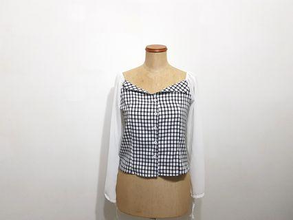 Checkered Square Neck Top