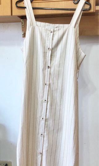 米色 直條紋背心長洋裝