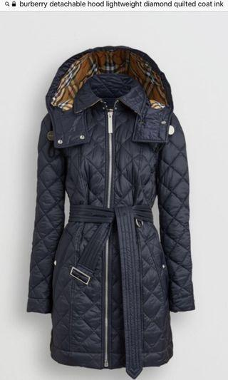 BNWT Burberry detachable hood lightweight parka - ink blue SMALL