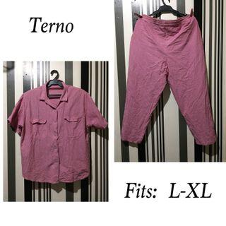 Pink terno / button down blouse and garterized pants