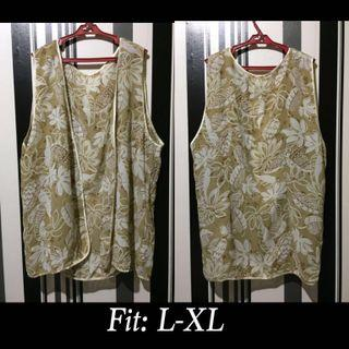 Brown Floral Chaleco / vest type / cover up polyester