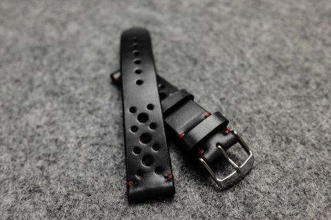 Horween Chromexcel Black Racing Leather Watch Strap