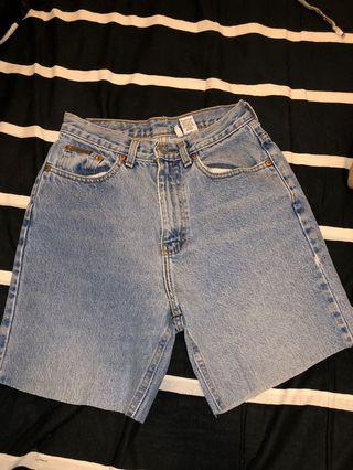 CALVIN KLEIN LIGHT BLUE HIGH WAISTED JEAN SHORTS