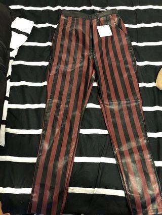 MISSGUIDED STRIPED BURGUNDY SLIM LEG TROUSERS