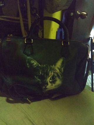 Leather bag hobo bag cat