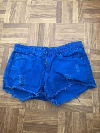 Blue semi high waist shorts