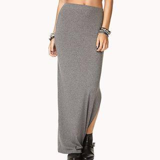 Grey Maxi Skirt With Side Slit