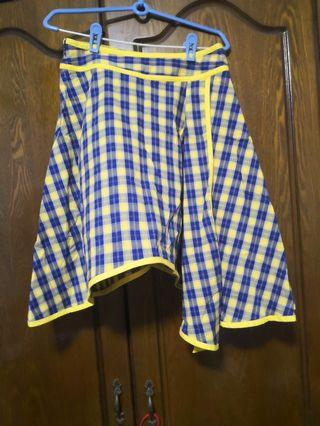 (3for$10)Asymmetrical Checkered Skirt