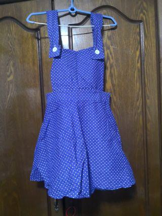 (3for$10)Blue polka dot pinafore dress