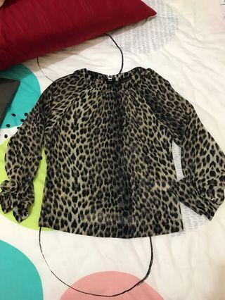 topshop leaopard blouse