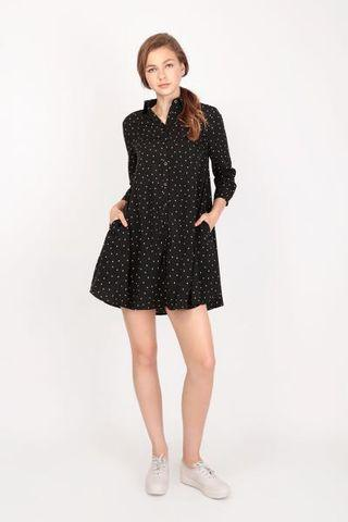🚚 AFA Polka Dots Shirt Dress (Black)
