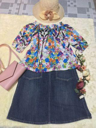 Floral Chiffon Offshie Top
